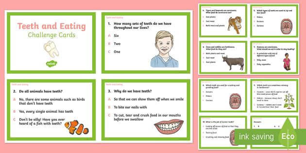 Teeth and Eating Challenge Cards - teeth, eating, challenge cards, challenge, cards, animals, humans, tooth