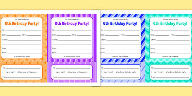 6th Birthday Party Invitations - 6th birthday party, 6th birthday, birthday party, invitations