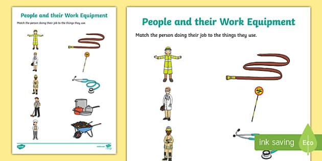 People and their Work Equipment Matching Activity Sheet-Irish, worksheet