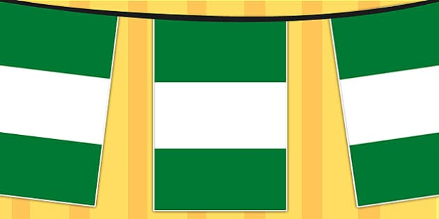 Nigeria A4 Flag Bunting - countries, geography, flags, country