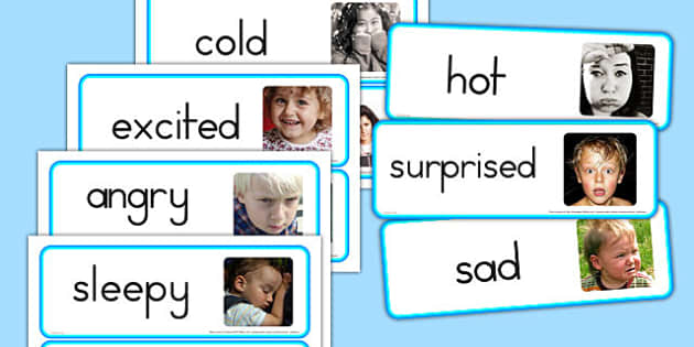 Large Detailed Emotions and Feelings Photo Word Cards - australia