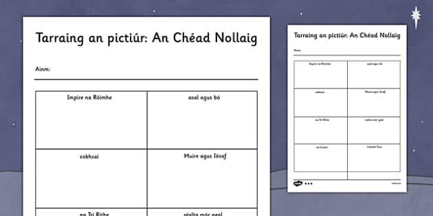 Tarraing an pictiúr: An Chéad Nollaig Activity Sheet Gaeilge - gaeilge, nativity, words, read, draw, activity, worksheet