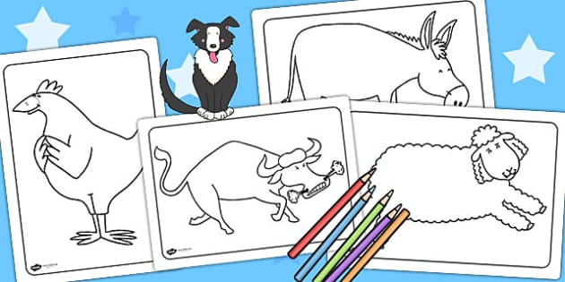 Colouring Sheets to Support Teaching on Farmyard Hullabaloo - farm, colours, colouring