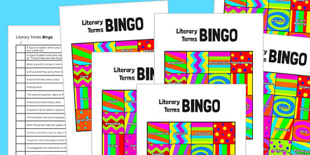 Literary Terms Bingo - literary terms, bingo, game, activity, ks3