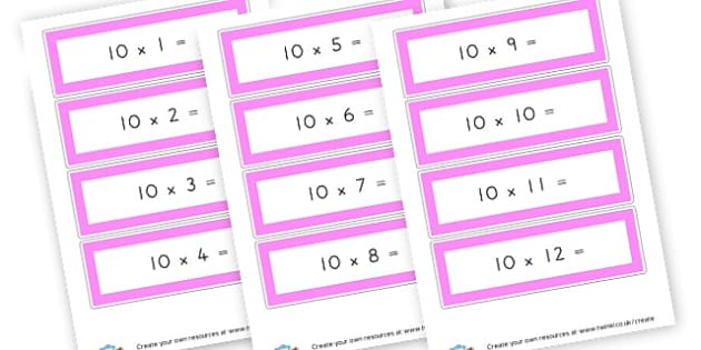 10 X x = - display lettering - Times Tables Primary Resources, multiply, times, number of, games, Times, Table, Tabe