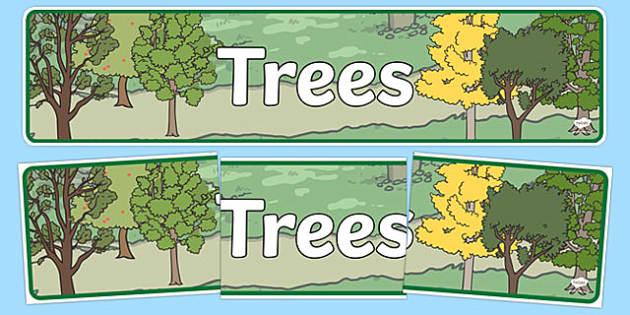 Trees Display Banner - trees, woodland, display, banner, sign, poster, woods, forest, birds, leaf, fox, deere, bark, fern