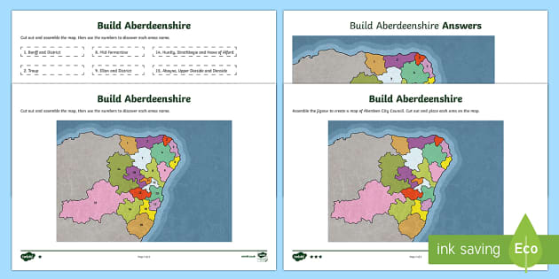 Local Authority Map Jigsaw   Aberdeenshire Map-Scottish - CfE, people place and environment, map, Aberdeenshire, jigsaw, geography, local authority, ,Scottish