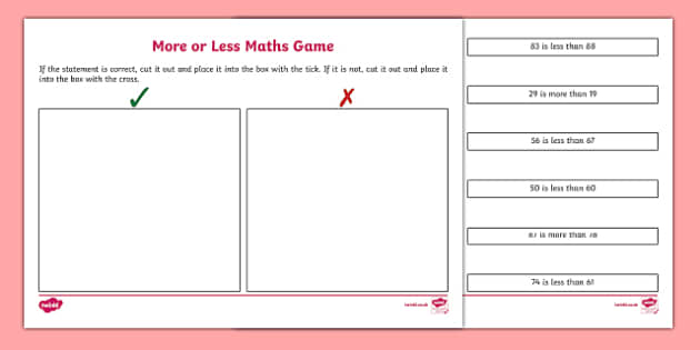 More Or Less Maths Game for IWB - more, less, maths, IWB, game