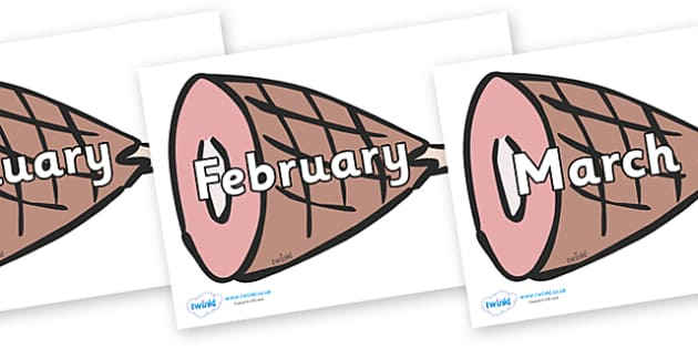Months of the Year on Hams - Months of the Year, Months poster, Months display, display, poster, frieze, Months, month, January, February, March, April, May, June, July, August, September