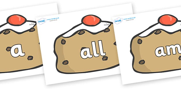 Foundation Stage 2 Keywords on Currant Buns - FS2, CLL, keywords, Communication language and literacy,  Display, Key words, high frequency words, foundation stage literacy, DfES Letters and Sounds, Letters and Sounds, spelling