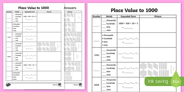 Place Value to 4 Digits Activity Sheet  - place value, activity, 10 000, maths, mathematics, numeracy, worksheet