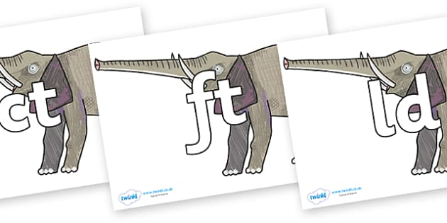 Final Letter Blends on Elephant to Support Teaching on The Bad Tempered Ladybird - Final Letters, final letter, letter blend, letter blends, consonant, consonants, digraph, trigraph, literacy, alphabet, letters, foundation stage literacy