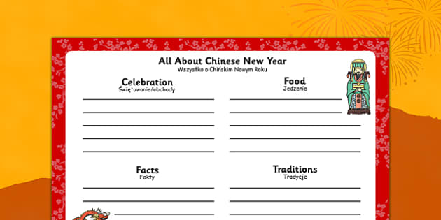 Chinese New Year Writing Frame Polish Translation - polish, chinese new year, writing frame, write, frame