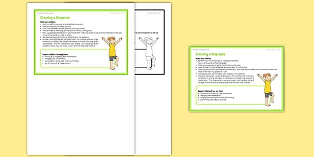 Foundation PE (Reception) - Creating a Sequence Teacher Support Card - EYFS, PE, Physical Development, Planning