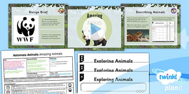 PlanIt - Design and Technology UKS2 - Automata Animals Lesson 1: Amazing Animals Lesson Pack - research, inform, design