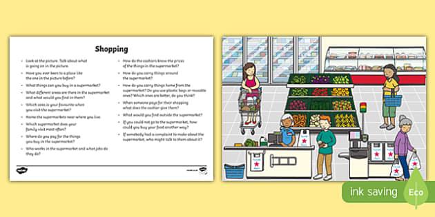 Shopping Oral Language  Activity Sheet-Irish, worksheet