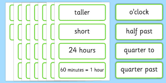 Time Topic word Cards - time, topic, word, cards, telling time