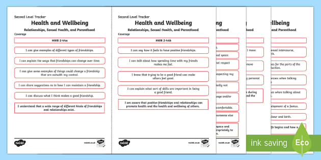 CfE Health and Wellbeing (Relationships, Sexual Health and Parenthood) Second Level Child Friendly Tracking-Scottish - Child Friendly Tracking CfE, tracker, HWB, curriculum for excellence, 2nd level, progression, I can,