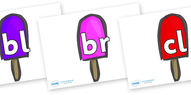 Initial Letter Blends on Ice Lollies - Initial Letters, initial letter, letter blend, letter blends, consonant, consonants, digraph, trigraph, literacy, alphabet, letters, foundation stage literacy