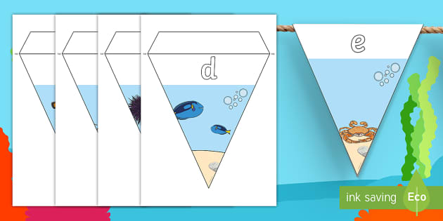 Under The Sea Themed Alphabet Bunting - under the sea, alphabet bunting, A-Z bunting, under the sea A-Z bunting, under the sea alphabet bunting, alphabet buntin
