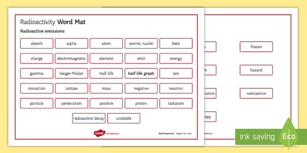 OCR Gateway Physics Topic P6 Radioactivity Word Mat - Word Mat, gcse, keywords, radioactive, radioactivity, uranium, plutonium, nuclear fission, nuclear f