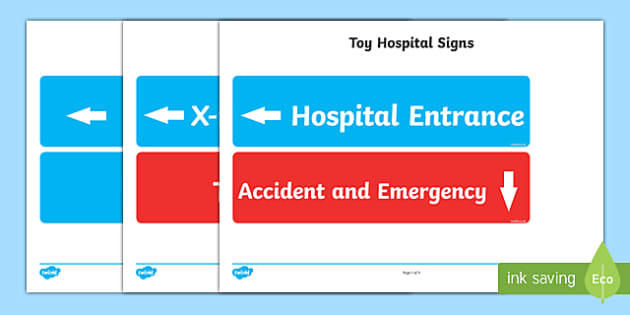 Toy Hospital Display Sigs - toy hospital, toys, display, signs, sign, dolly, cars, balls, dolls, teddy, toy animals
