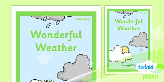 PlanIt - Geography Year 1 - Wonderful Weather Unit Book Cover - planit, book cover, year 1, geography, wonderful weather