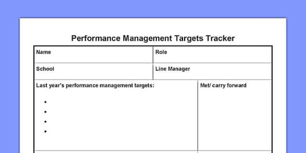 Performance Management Targets Tracker - performance, management, targets