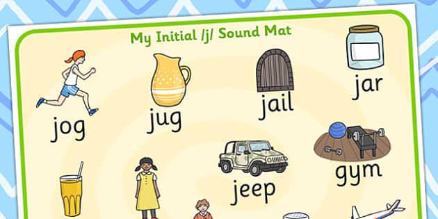 Initial j Sound Mat - initial j, sounds, sound mat, j sounds