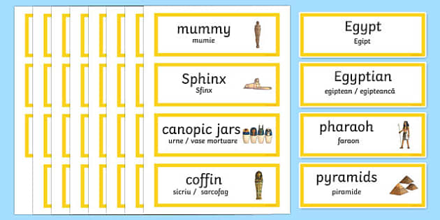 Ancient Egypt Word Cards Romanian Translation - romanian, egypt, word cards, keyword, visual aid
