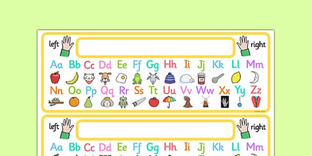 Alphabet Strip with Pictures - alphabet, alphabet strip, alphabet desk strip, alphabet with images, alphabet with pictures, alphabet writing aid, a-z