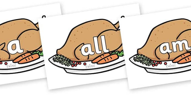 Foundation Stage 2 Keywords on Christmas Turkeys - FS2, CLL, keywords, Communication language and literacy,  Display, Key words, high frequency words, foundation stage literacy, DfES Letters and Sounds, Letters and Sounds, spelling