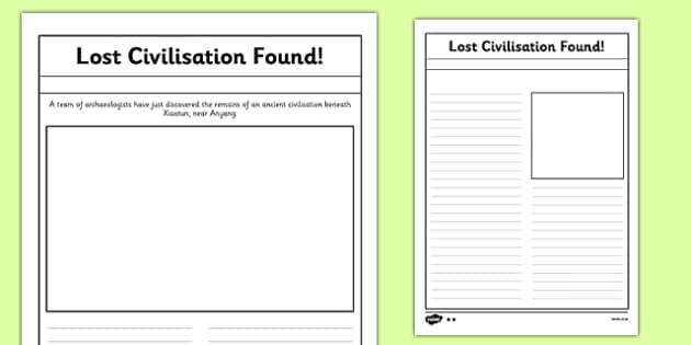 Lost Civilisation Found Differentiated Newspaper Templates - history, key stage 2, ks2, ks 2, civilisation, ancient, society, past, archaeology
