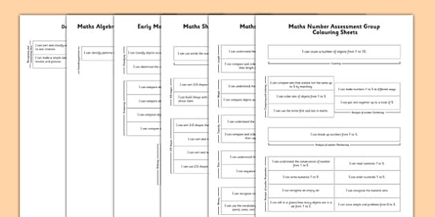 1999 Curriculum Junior Infants Maths Assessment Group Colouring Sheets Pack - roi, irish, gaeilge, assessment checklist, maths, junior infants, pack