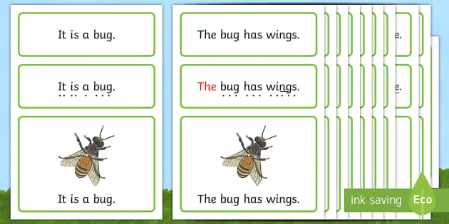 Minibeasts Simple Sentence Cards - reading, sentences, eyfs, word cards, decoding, tricky words, sound button, phoneme, grapheme, phoni