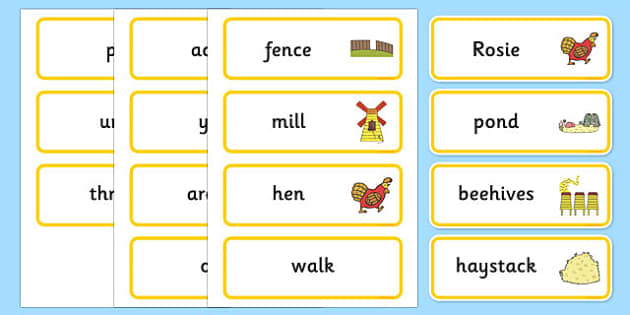 Word Cards to Support Teaching on Rosie's Walk - Rosie's Walk, story, Pat Hutchins, book, resources, writing aid, cards, flaschards, Rosie, fox, farm, story book, story resources, Rosie Walk