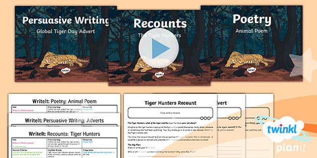PlanIt Y6 Animals: The Tyger WriteIt Pack - recount, poetry, advert, writeit, big write, assessment, literacy, english, year 6, y6, topic, tiger