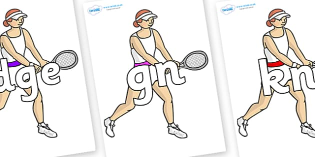 Silent Letters on Tennis Players - Silent Letters, silent letter, letter blend, consonant, consonants, digraph, trigraph, A-Z letters, literacy, alphabet, letters, alternative sounds