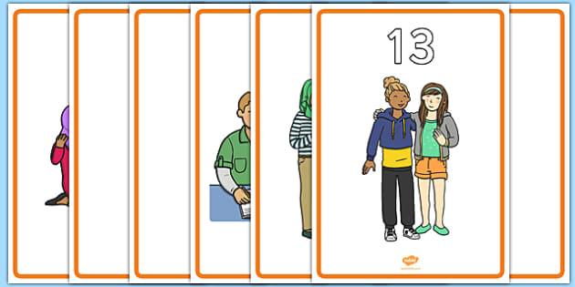 Teen Numbers on Teenagers Display Posters - teen numbers, teenagers, teen, numbers, display posters, display, posters