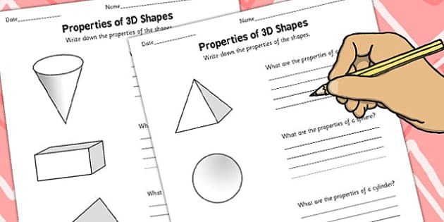 Year 3 Properties of 3D Shapes Activity Sheet Pack - activity, sheets, worksheet