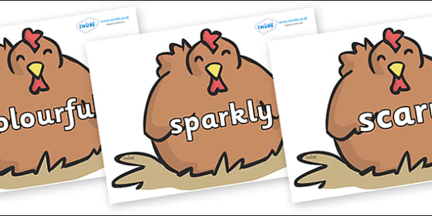 Wow Words on Chickens - Wow words, adjectives, VCOP, describing, Wow, display, poster, wow display, tasty, scary, ugly, beautiful, colourful sharp, bouncy