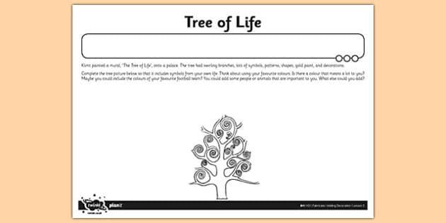 Tree of Life Activity Sheet - tree of life, activity, sheet, art and design, worksheet