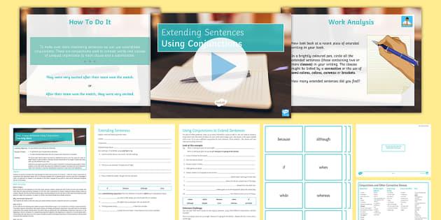 Extending Sentences Using Conjunctions Lesson Pack - SPAG, grammar KS 3, KS 3, KS 4 grammar, sentence length, conjunctions, connectives