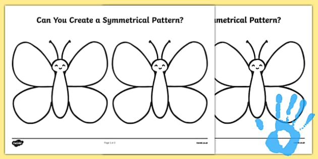 Create a Symmetrical Butterfly Pattern Fingerprint Activity Sheet - maths, ssm, shape space measure, painting activities, worksheet