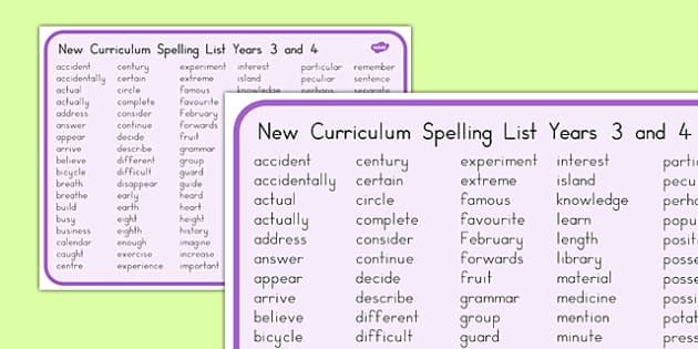 Spelling List Years 3 and 4 Word Mat - australia