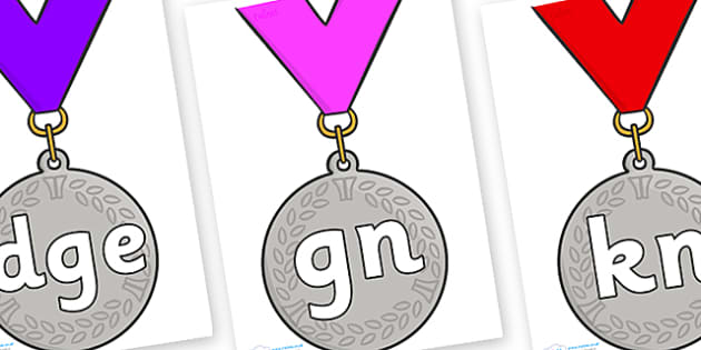 Silent Letters on Silver Medal - Silent Letters, silent letter, letter blend, consonant, consonants, digraph, trigraph, A-Z letters, literacy, alphabet, letters, alternative sounds