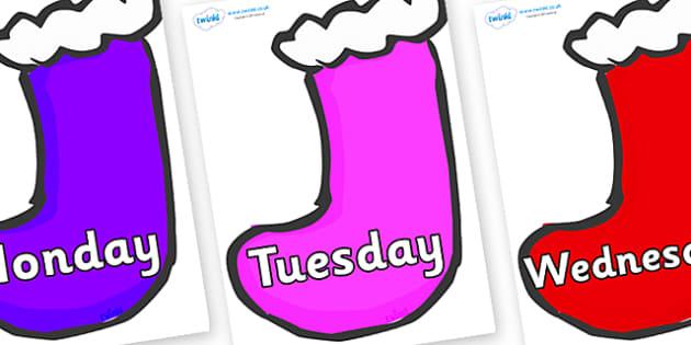 Days of the Week on Stockings (Multicolour) - Days of the Week, Weeks poster, week, display, poster, frieze, Days, Day, Monday, Tuesday, Wednesday, Thursday, Friday, Saturday, Sunday