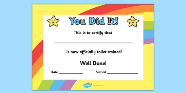 Toilet Training Certificate - toilet, training, certificate, award, reward
