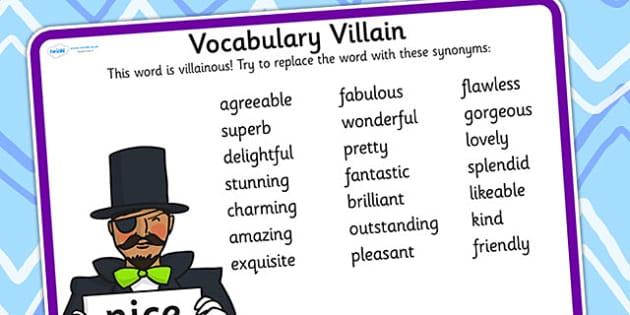 Vocabulary Villain Nice Word Mat - nice, word mat, topic words, key words, word list, keyword, words, key word mat, themed word mat, themed word list