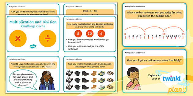 PlanIt Y2 Multiplication and Division Challenge Cards - multiply, divide, task cards, question cards, maths challenge, thinking skills, maths problems, prob